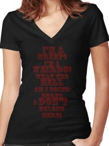 creep red Women's Fitted V-Neck T-Shirt