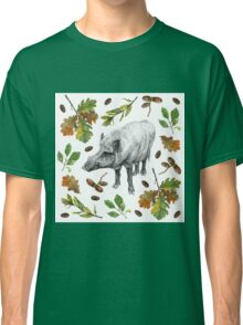 Wild boar with oak leaves Classic T-Shirt