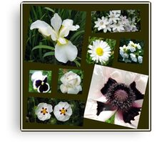 White Summer Flowers Collage Canvas Print