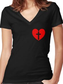 Christian Heart Women's Fitted V-Neck T-Shirt
