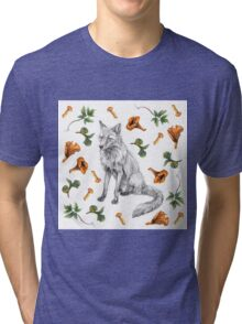 Sitting fox with leaves and mushrooms Tri-blend T-Shirt