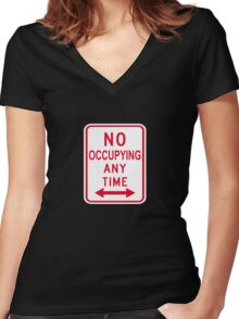 No Occupying Women's Fitted V-Neck T-Shirt