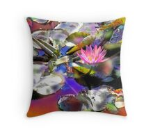 Rainbow Water Lily Throw Pillow