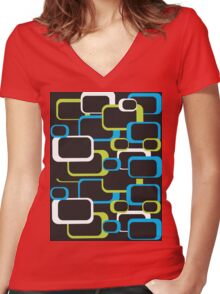 Lime Green, Turquoise and White Retro Square Women's Fitted V-Neck T-Shirt