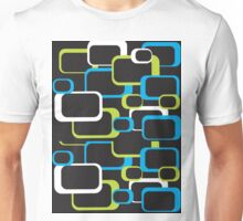 Lime Green, Turquoise and White Retro Square Unisex T-Shirt