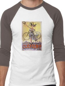 Cycles Clément 1898 Vintage Advertising Poster Men's Baseball ¾ T-Shirt