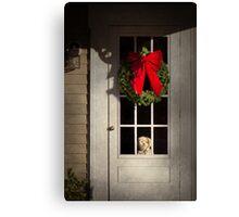 Winter - Christmas - Clinton, NJ - Christmas puppy  Canvas Print