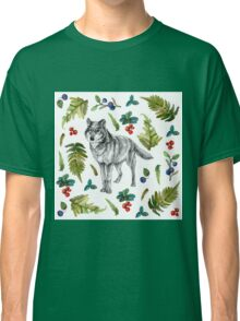 Wolf with fern and berries Classic T-Shirt