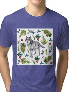 Wolf with fern and berries Tri-blend T-Shirt