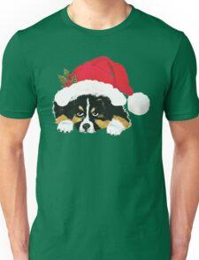 Black Tri Australian Shepherd Christmas Puppy Unisex T-Shirt
