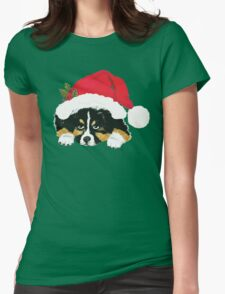 Black Tri Australian Shepherd Christmas Puppy Womens Fitted T-Shirt