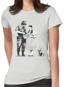 """Banksy """"Stop and Search"""" Womens Fitted T-Shirt"""