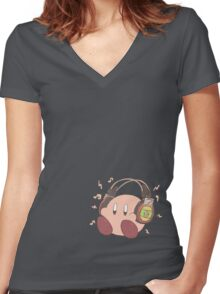 Kirby Sound Test Headphones Women's Fitted V-Neck T-Shirt
