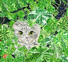 CNN: Cat Neath Nasturtiums by EllenCoffin