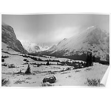 Elbow Pass valley V (b&w) Poster