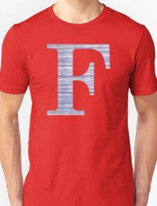 Letter F Blue Watercolor Stripes Monogram Initial Unisex T-Shirt