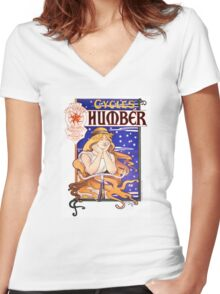 Humber Cycles 1890s Vintage Advertising Poster Women's Fitted V-Neck T-Shirt