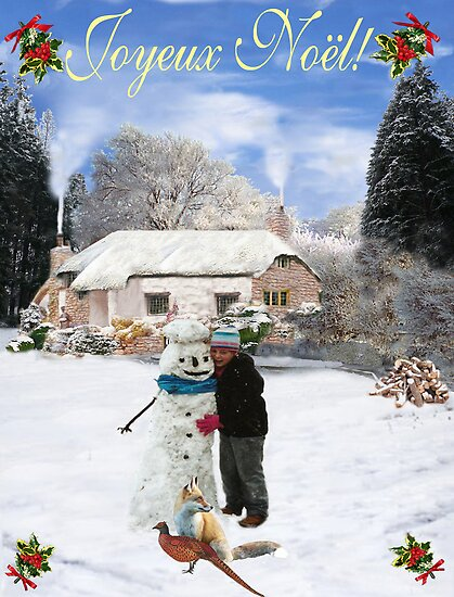 French cottage Merry Christmas by Eric Kempson