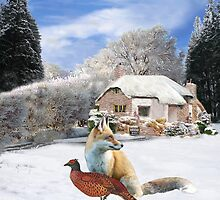 Danish Winter Garden Fox and Pheasant by Eric Kempson