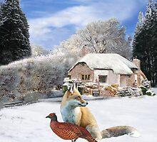 Danish Winter Garden Fox and Pheasant by Eric Kempson