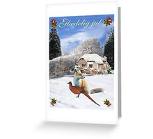 Danish Winter Garden Fox and Pheasant Greeting Card