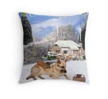 Danish German Shepherd Holiday Throw Pillow