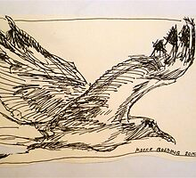 One flying seagull: pen sketch. by Elizabeth Moore Golding