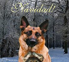 Felix Navidad Holiday German Shepherd and puppy by Eric Kempson