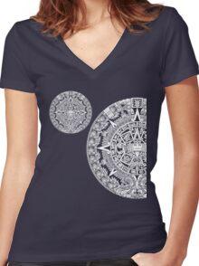 Aztec calendar Women's Fitted V-Neck T-Shirt