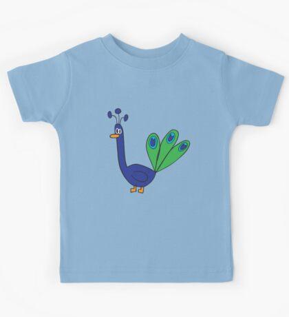 blue peacock Kids Tee