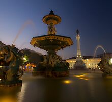 Rossio Square at Dusk in Lisbon by Sven Brogren