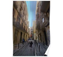 A digital painting of an street scene in Barcelona Poster