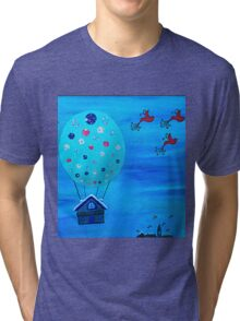 Snow Globe Hot Air Balloon Flying House with Birds Tri-blend T-Shirt
