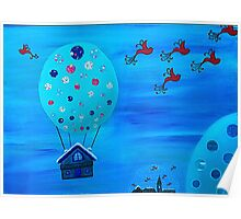 Snow Globe Hot Air Balloon Flying House with Birds Poster