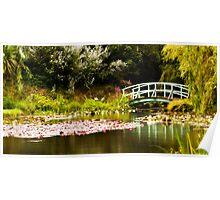 Monet Bridge at Bennett's Water Garden Poster