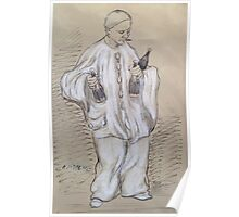 Adolphe Willette A Ink Chalk Pierrot aux bouteilles fumant 14 2x23cm Poster