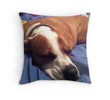 Dee Dee Girl on the Bed Throw Pillow