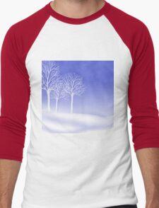 Woodland in Winter Scene Men's Baseball ¾ T-Shirt