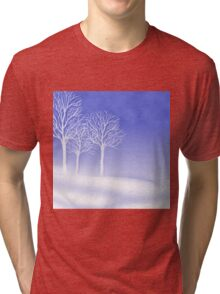 Woodland in Winter Scene Tri-blend T-Shirt
