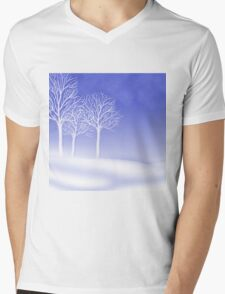 Woodland in Winter Scene Mens V-Neck T-Shirt