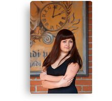 Beauty woman at retro poster with clock. Canvas Print