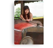 Young woman with old car. Canvas Print