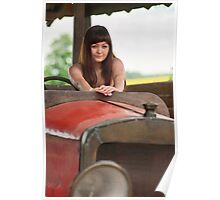 Young woman with old car. Poster