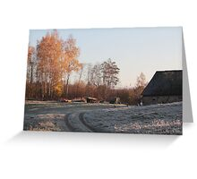 First frost in rural place Greeting Card