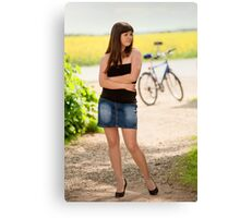 Sexy woman with bicycle Canvas Print