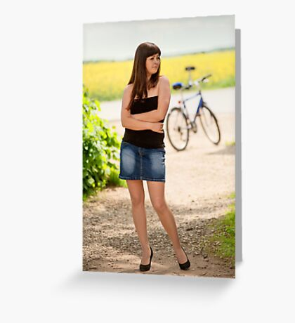 Sexy woman with bicycle Greeting Card
