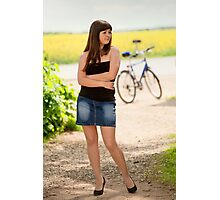 Sexy woman with bicycle Photographic Print