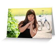 Beauty woman with bicycle Greeting Card