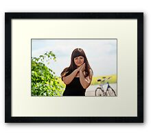 Beauty woman with bicycle Framed Print