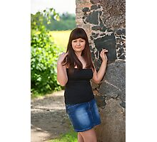 Sexy woman at rural house. Photographic Print